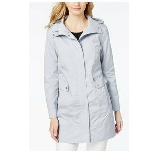 Cole Haan Bow Back Packable Hooded Raincoat Blue